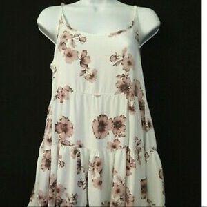 Brandy Melville White Backless Dress Pink Flowers